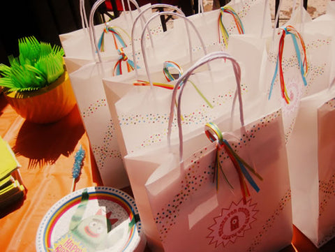 gift bags decorated with washi tape