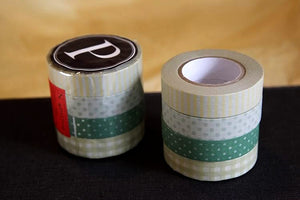 Stripe Dots Grid Washi Tape 13mm (P) - Greens