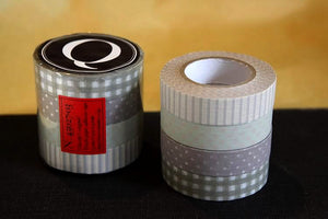 Stripe Dots Grid 13mm (Q) Neutral Greys Washi Tape