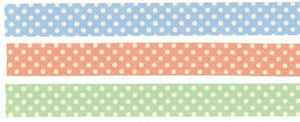 Pastel Polka Dots Green Peach Blue 15mm (C)
