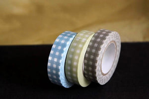GINGHAM Grid Blue Khaki Brown 13mm Set of 3 (K)