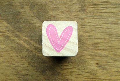 Cute HEART w/ Stitch border Wooden Rubber Stamp