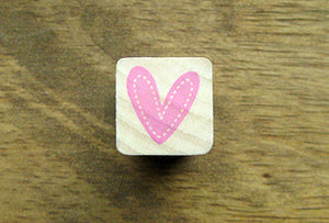 Cute HEART w/ Stitch border Ribber Craft Stamp