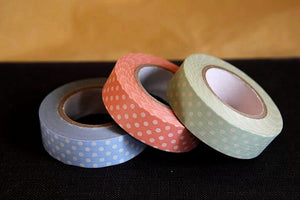 Pastel Polka Dots Washi Tape Green Peach Blue 15mm (C)