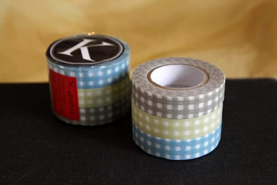 GINGHAM Washi Tape Grid Blue Khaki Brown 13mm Set of 3 (K)