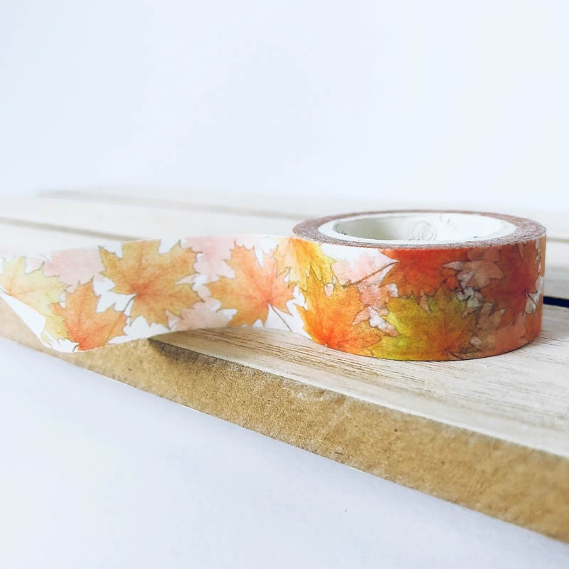Autumn Fall Leaves Washi Tape - Maple Leaf (Mini Roll)