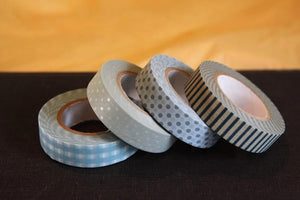 Stripe Dots Grid Washi Tape 13mm (O) - Blues Japanese