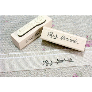 Flower / Handmade Label Wooden Rubber Stamp