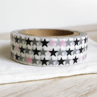 Pink Black Stars on White Washi Tape