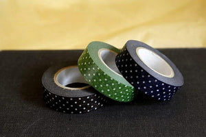 Polka Dots Dark Washi Tape Blue Green Black 15mm (B)