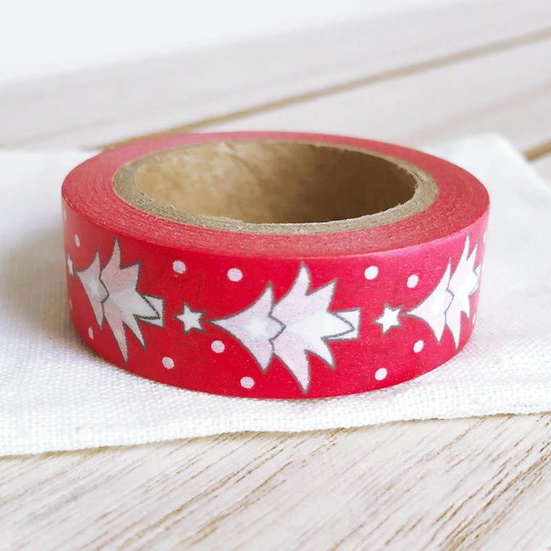 Christmas Washi Tape White Snow Tree Red