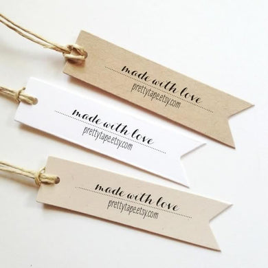 custom gift tags, made with love tags, personalized tags