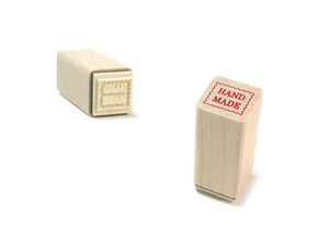 Square HAND MADE Label Wooden Rubber Stamp