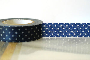 Polka Dots Dark Blue Green Black 15mm (B)