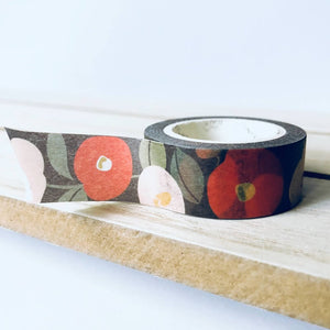 Flowers Camellia Washi Tape - Red White Black