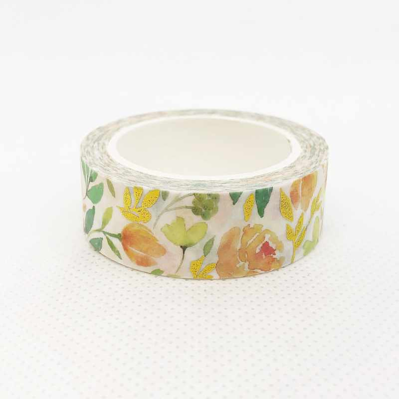 Gold Foil Accent Floral Washi Tape