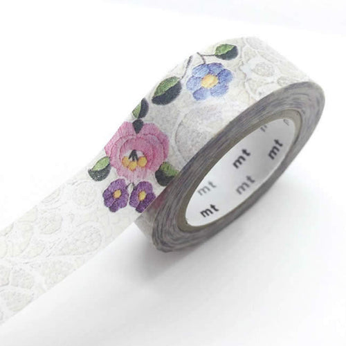 gray lace washi tape floral