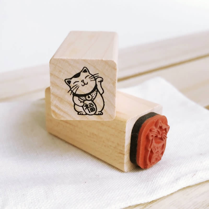 Japanese Fortune Lucky Cat - Maneki Neko - Small Craft Rubber Stamp