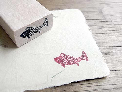 Koi fish rubber stamp, craft rubber stamp, Koi fish Wooden Rubber Stamps