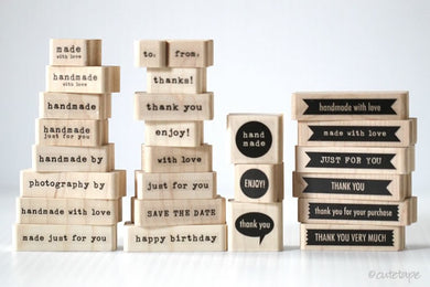 message craft rubber stamps, handmade, thank you, enjoy, with love, just for you, happy birthday, enjoy