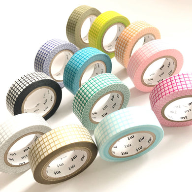 Grid Washi Tape, japanese masking tape, white, journals, green, planner
