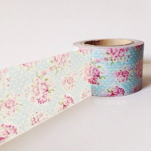 Pink rose washi tape on aqua dots