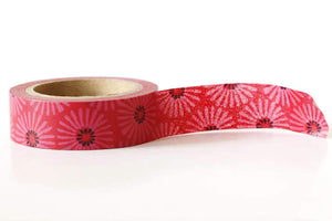 red floral washi tape, red daisy washi tapes
