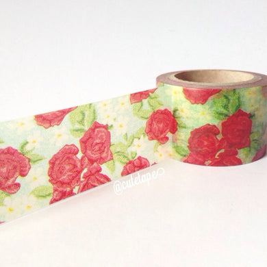 Cute red rose garden wide washi tape