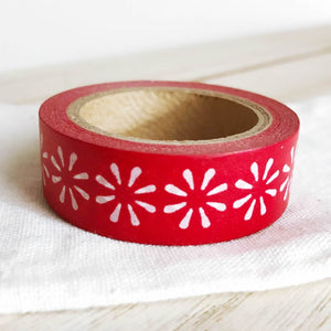 Snow Flower Washi Tape Christmas White on Red