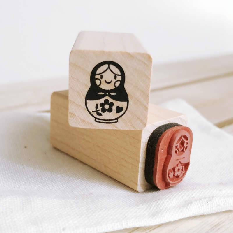 Russian Nesting Doll Small Craft Wooden Rubber Stamp
