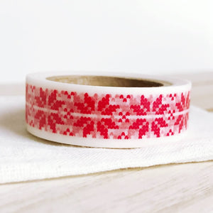 red stitch on white christmas washi tape, xmas tape