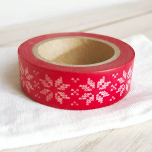 Stitch Snowflake White on Red Christmas Washi Tape