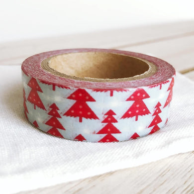 Christmas Washi Tape Tiny White Snow on Red Tree