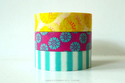 Tulip Washi Tape - Yellow, Pink, Blue Stripe