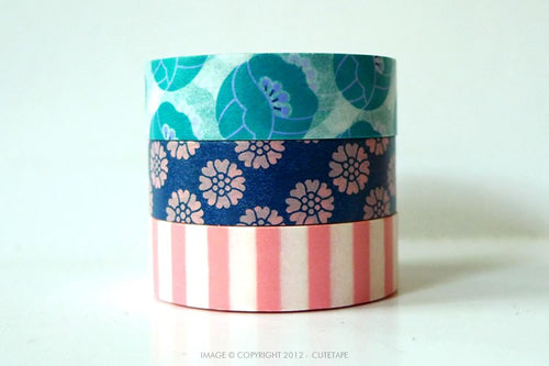 Tulip Washi Tape - Teal, Blue, Pink Stripe