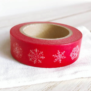 Various Snowflakes on Red Christmas Washi Tape