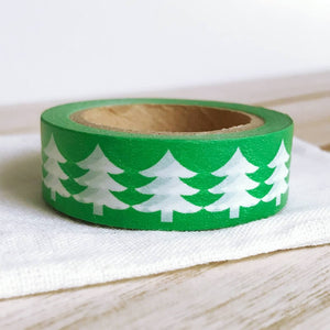 White Tree on Green Christmas Washi Tape