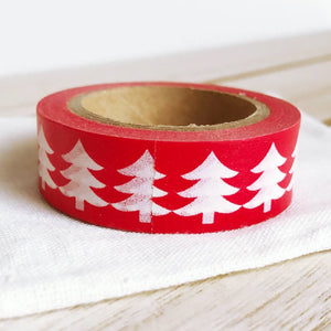 White Tree on Red Christmas Washi Tape Xmas Tape