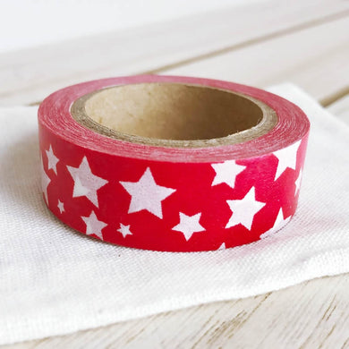 Christmas Washi Tape White Stars on Red