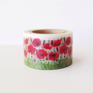Wide Red Poppy Washi Tape