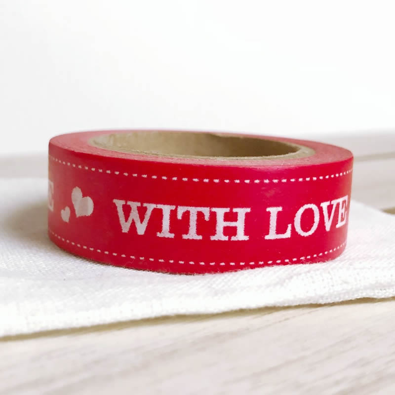 Heart RED With Love Christmas Washi Tape