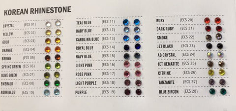 Stone Colour and Size Chart
