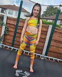 Samba Yellow Crop Top and Leggings Activewear Set