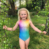 Rainbow Radiant Holographic Ombre Short Sleeved Velocity Dancewear Gymnastics Deluxe Leotard