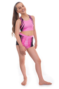 Accelerate Pink Crop Top and Shorts Activewear Set
