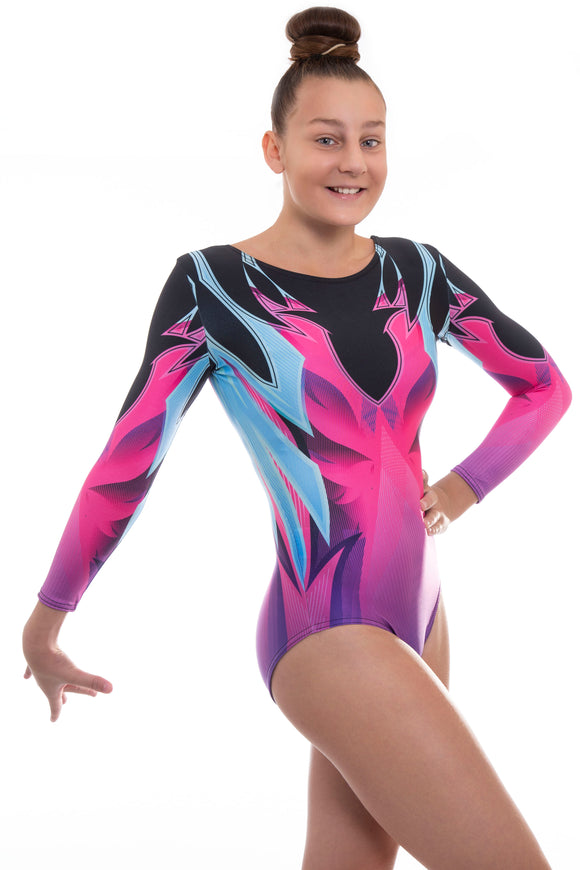 Alexis Neon in Pink Purple Deluxe Long Sleeve Gymnastics Leotard