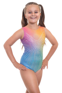 Angel Rainbow Ombre Sleeveless Gymnastics Leotard