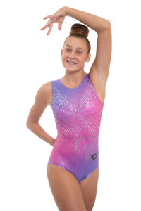 Angel Holographic Blue to Pink Ombre Sleeveless Gymnastics Deluxe Leotard