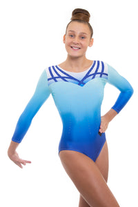 Array Blue Deluxe Long Sleeve Gymnastics Leotard