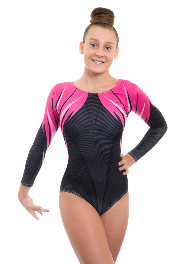 Athena Pink Deluxe Long Sleeve Gymnastics Leotard